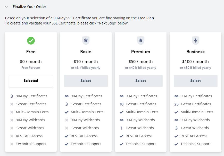 Выбор тарифа ZeroSSL