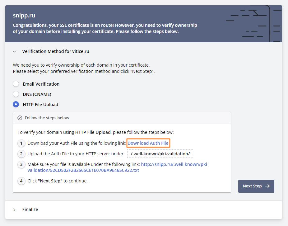 Потверждение домена - шаг 1