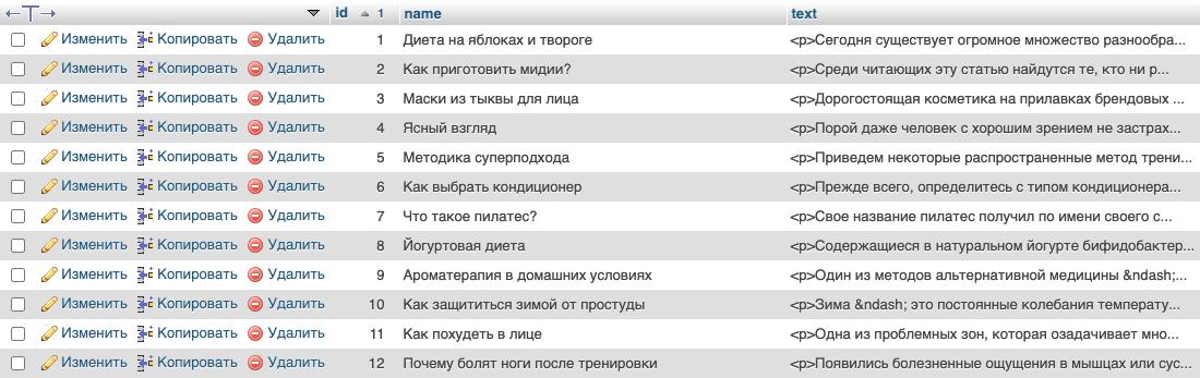 Пример таблицы со статьями