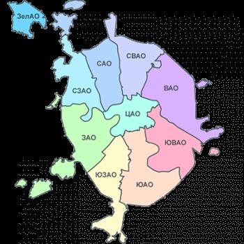 Округа и районы Москвы в MySQL