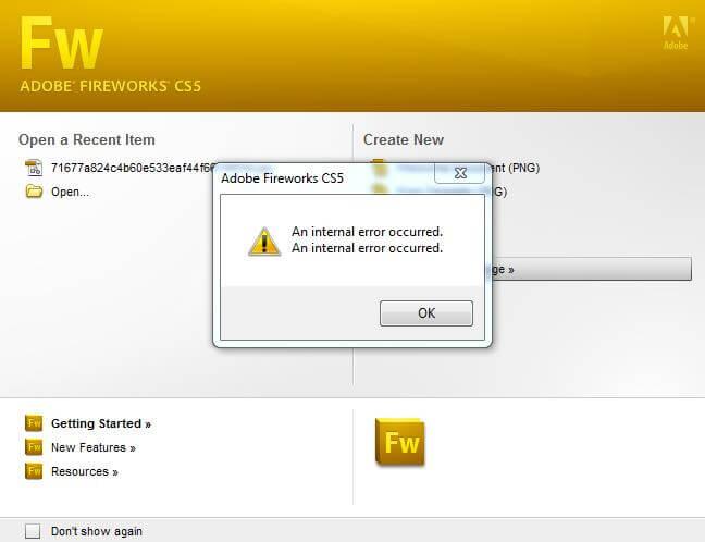 Ошибка Fireworks «an internal server error occurred»