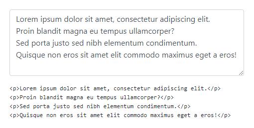 Как преобразовать текст из textarea в параграфы HTML